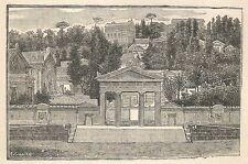 A6167 Cimitero di Napoli - Stampa Antica del 1925 - Incisione