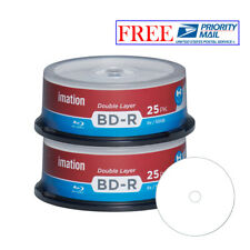 50 Pack Imation Blu-ray BD-R DL Dual Layer 6X 50GB White Inkjet Printable Disc