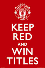 Manchester United Football Club KEEP RED AND WIN TITLES EPL Team Logo Poster