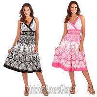 Ladies Floral Heart Print Cross Over Cotton Summer Beach Sun Dress Size 8 - 22