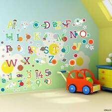 Space Planets Alphabet Letters and Numbers Self-adhesive Vinyl Wall Art Stickers