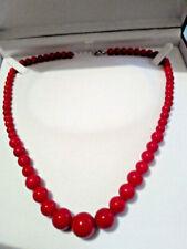 Collana donna vero corallo rosso con GARANZIA pietre dure 6 - 14 mm chakra NUOVA