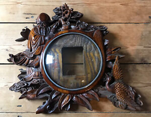 Chinese Finely Carved Wooden Clock Case - Shou Lao