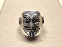 Anonymous Mask Ring 925 Sterling Silver Handmade Mens V For Vendetta Ring Boxed