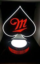 Miller Fortune Beer Poker Spade LED Neon Light & Bottle Glorifier