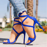 Womens Sandals Strappy High Heel Peep Toe Summer Formal Casual Evening Stiletto