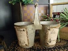 Primitive Vintage Look Shabby Country Tin Burlap Double Pot Planter Wood Handle