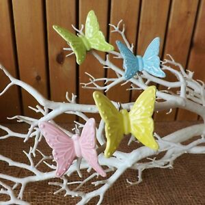Set 4 China Ceramic Clip On Butterflies Pink Blue Green Yellow Home Wedding