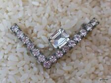 "Prong Set Clear Crystals 1.5"" Vintage L Shape Pin with"
