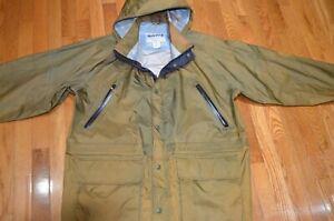 Orvis Men/'s Wahoo Rain Coat Jacket Size XL Navy Blue Packable Hood Brand New