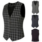 New Mens Slim Fit Lapel Business Formal Dress Vests Tops Casual Waistcoat Suit