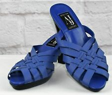AJ Valenci Sandal Ladies Size 8.5  Blue Mule Slide On Platform Basket Weave