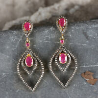Real Pave Diamond Ruby Gemstone Dangle Drop Earring 925 Sterling Silver Jewelry