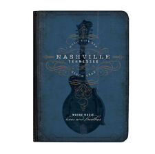 "Nashville Guitar Blue Music Universal 9-10.1"" Leather Flip Case Cover"