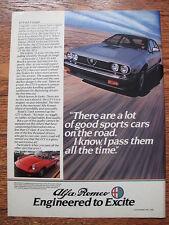 Alfa Romeo GTV 6 2.5 Coupe & Spider Veloce Convertible Advertising Print ad