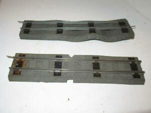 AMERICAN FLYER POST-WAR 2 SECTIONS #726 STRAIGHT TRACK W/GREY ROADBED-FAIR- S12