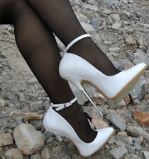 UK Women White Ankle Strap Stilettos Shoes Pumps Slim High Heel Pointy Toe Shoes