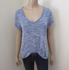 Abercrombie Womens Knit V-Neck T-Shirt Size Small Top Marled Blue