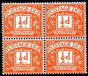 1959-70 ½d Orange Block of 4 Postage Due Watermark SGD56 Spec Z30 Unmounted Mint