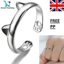 925 Sterling Silver Cat Kitten Pet Adjustable Wrap Pinkie Thumb Ring Owner Uk