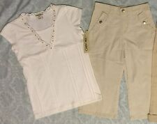 2pc lot EUC Girls Top Med7/8 NWT & Capri Pants-Small Perfect for School & Summer
