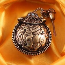 Tibet Filigree Turquoise Red Coral Kylin QiLin Spoon Snuff Bottle Pendant