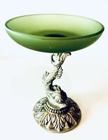 Fabulous Hollywood Regency Frosted Avocado Glass & Koi Dolphin Pedestal Compote