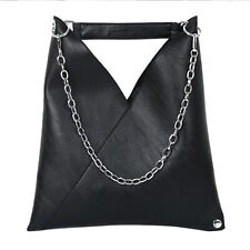 Triangle Chain Tote Bag Black Faux Leather