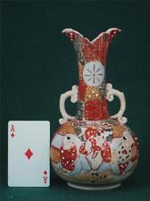Antique Japanese Satsuma Figurine Vase Handles Oriental Pottery Japan Men, Ladys
