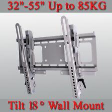 Heavy Duty 0~18° Tilt Silver Wall Mount Bracket For 32~55'' LCD LED Plasma TV