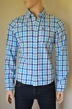 NEW Abercrombie & Fitch Noonmark Shirt Blue & Turquoise Check S