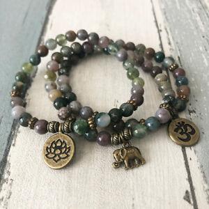Indian Agate Beaded Bracelet Set Meditation Reiki Chakra Anxiety Stress Bag UK