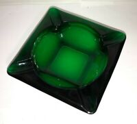 Vintage Mid-Century 1900's ANCHOR HOCKING Forest Green Solid Glass Ashtray