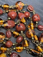 "Women's Ladies Necklace Brown Hans Made Glass Bohemian  Beaded 38"" Long"