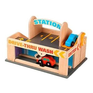 Service Station Parking Garage - Wooden Cars Drive-Thru Car Wash Melissa & Doug