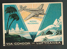 1938 Germany Lufthansa Condor Postcard Cover