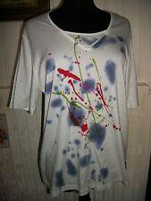 Tee shirt top coton/viscose  blanc manches courtes DORIS STREICH 48FR imprimé