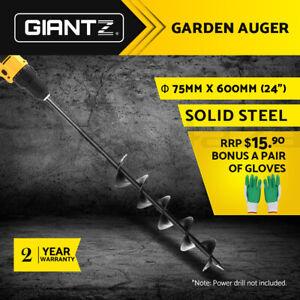 Giantz Power Garden Spiral Auger Hole Digger Earth Planter Drill Bit Φ75x600mm