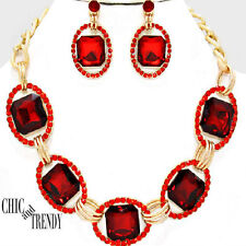 CLEARANCE HIGH END  RED CHUNKY CRYSTAL WEDDING FORMAL NECKLACE JEWELRY SET