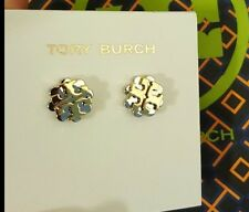NWT TORY BURCH EARRING LOGO FLOWER TWO-TONE STUD SILVER/ GOLD COLOR