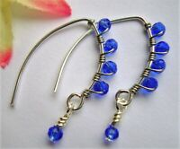 Faceted Sapphire Blue Crystal Silver Marquise Dangle Earrings USA HANDMADE