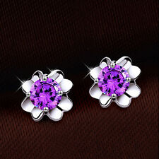 925 Sterling Silver Women Jewelry Flower Lady Elegant Crystal Ear Stud Earrings