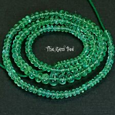 """3.3mm-6.2mm Finest Clear Colombian EMERALD Smooth Rondelle Beads 16"""" Strand"""