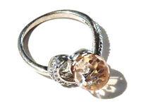Bijou argent 925 bague cristal moganite taille briolette ring