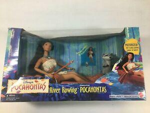 "1995 Disney's River Rowing Pocahontas 11"" Doll Disney Figure in Canoe New NIB"