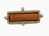 Vintage GOLD Plated / Tone Goldstone Aventurine MARY On Reverse Brooch Pin