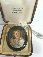 ANTIQUE VICTORIAN WHITBY JET LARGE PAINTED CAMEO PENDANT ON SILVER CHAIN GOTH