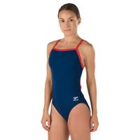 Speedo Endurance Womene's Solid Flyback Training Swimsuit Navy/Red Size 0/26