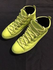 BALENCIAGA ARENA HIGH TOPS NEON YELLOW LEATHER SZ 44 11 SNEAKERS $650 AUTHENTIC