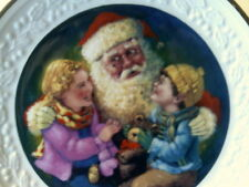 Nib 1999 Avon Christmas Plate-Santa'S Tender Moment -(22 Kt Gold Trim)-Free Ship